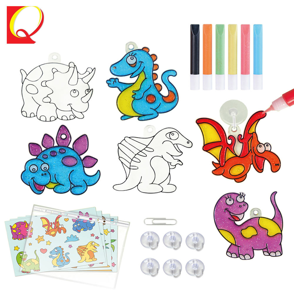 Kids education coloring DIY suncatcher dinosaur painting kit