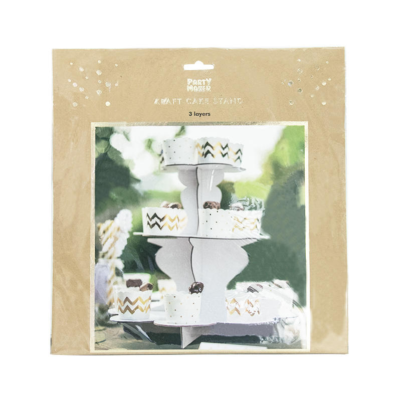 3 Layers White Paper Cake stands Cardboard Disposable Biodegradable Party Dessert display shelf holder Eco-friendly 607015