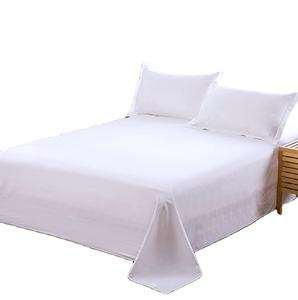 Wholesale White Satin Bed Sheet 100% Cotton Four Seasons Single Bedsheets for Hotel