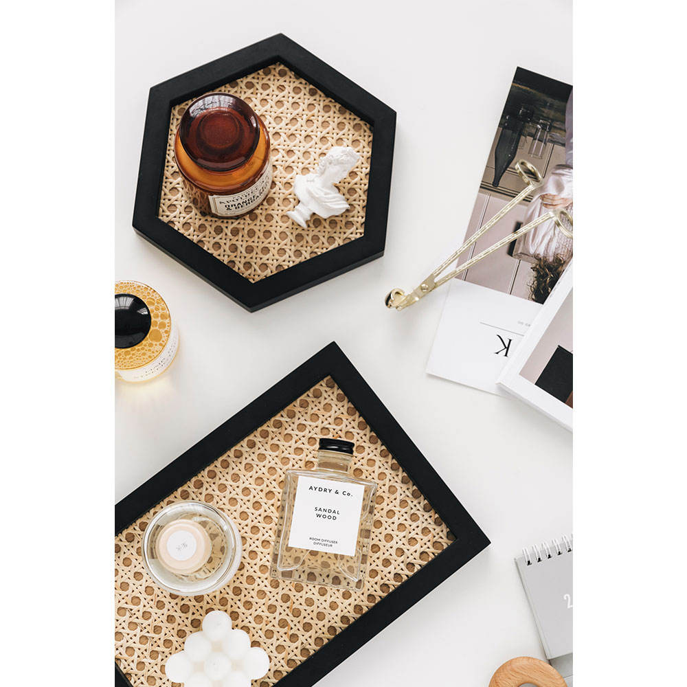 Rattan Tabletop Home Decor Round Square Black Nature Bamboo Wooden Serving Decorative Tray