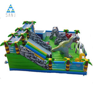 Inflatable Fun City Games Với Slide Obstacle Đối Với Trẻ Em Ngoài Trời Kids Skeleton Head Safari Park Bouncer Slide Air Blower Castle