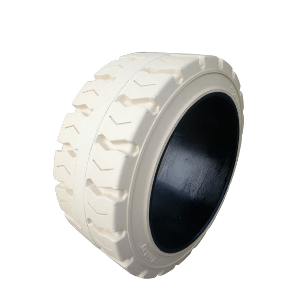 Lower maintenance cost press on solid rubber cushion tire for industrial vehicles running on smooth surfaces