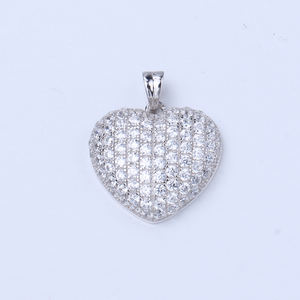 P-109-1.5mm Wholesale price Chinese factory Hip hop heart pendant with CZ white rhodium