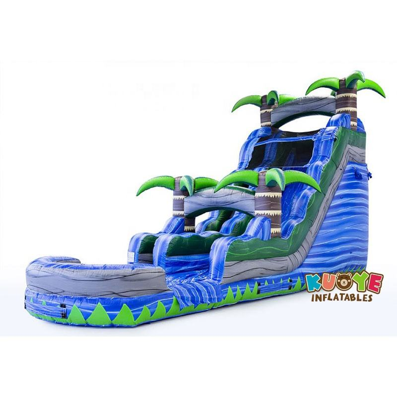 Top quality inflatable blue water slides crush with palma