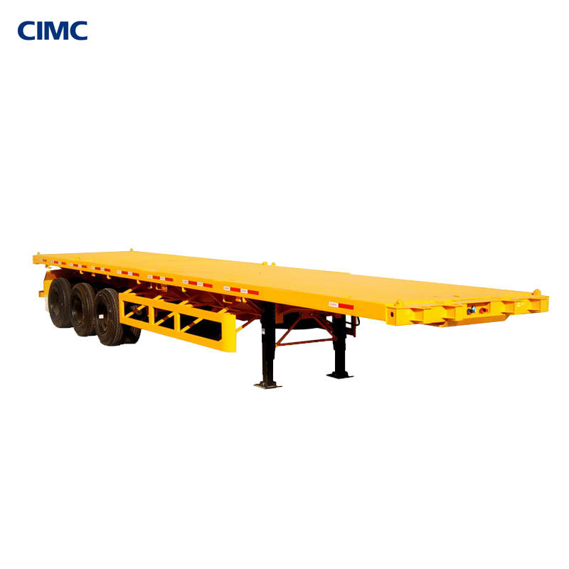 CIMC Dongyue tri-axle 20ft 40 feet 40ton Flatbed container semi trailer with front wall