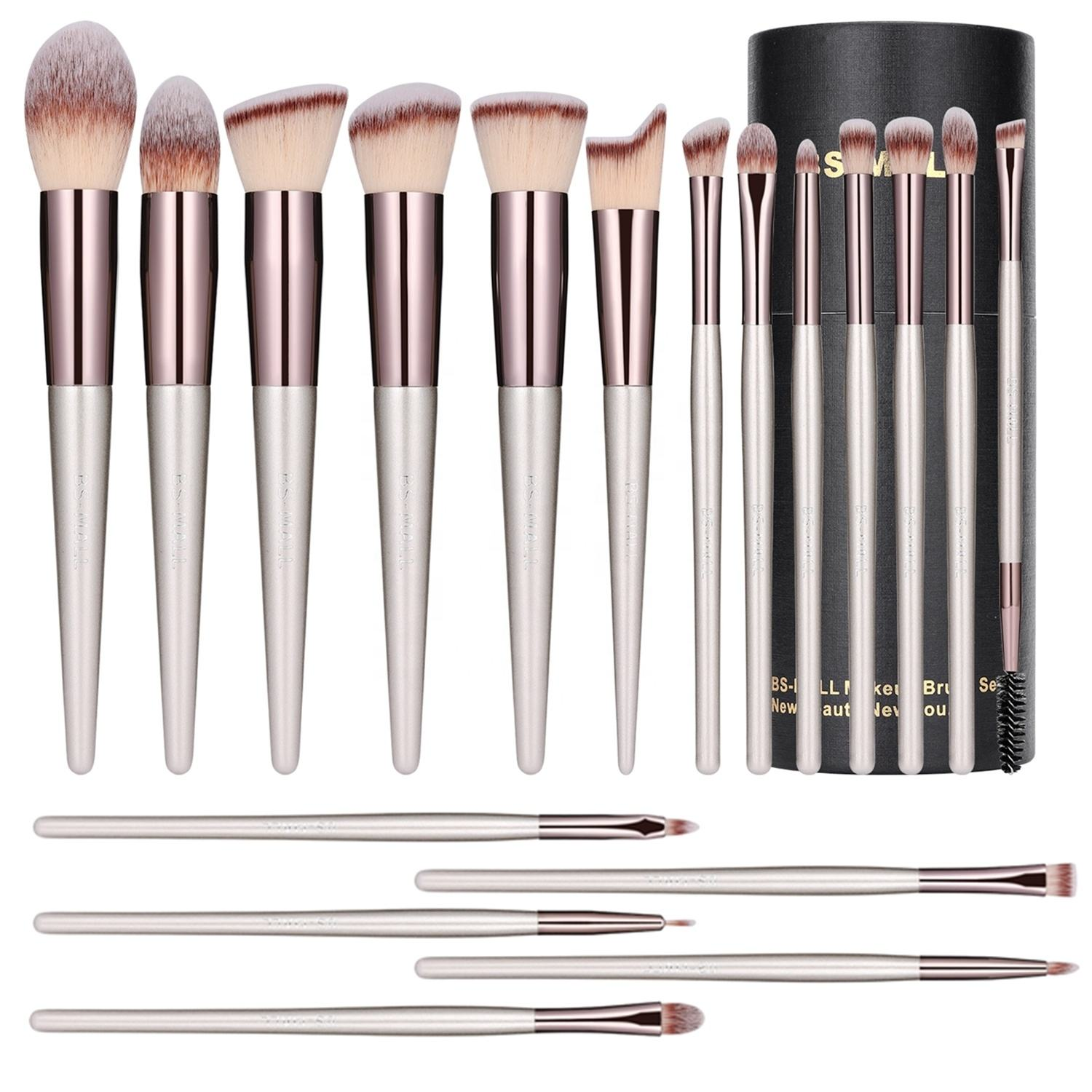 BS-MALL High quality champagne gold wholesale makeup brush bs mall makeup brush kits 18pcs make up brushes set with case