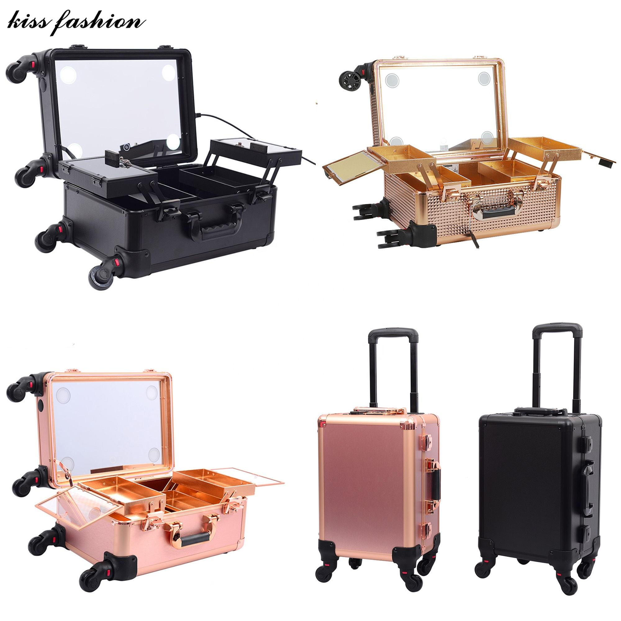 lights decorative beauty box with mirror Professional beauty fashion aluminum makeup case with stand legs