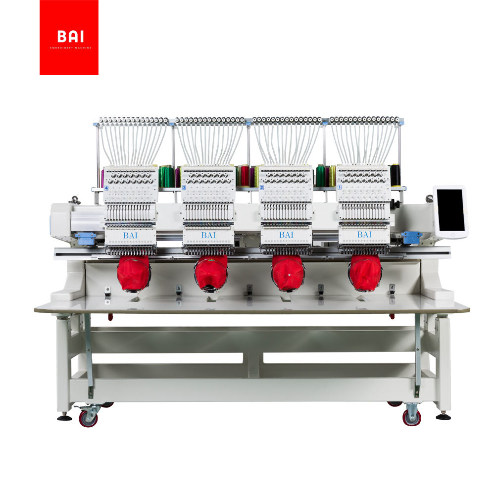 BAI High speed multi-function 12 needles four head computerized hat embroidery machine price
