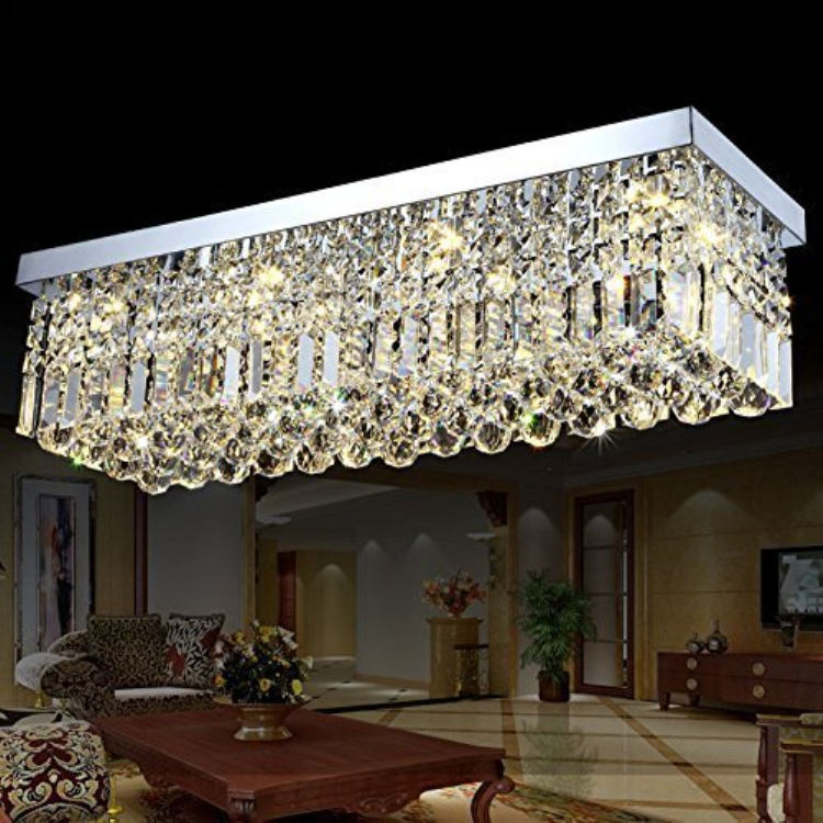 Rectangular dining room lamp crystal chandelier LED ceiling lamp aisle corridor bar crystal lamp Size 120*25*25CM