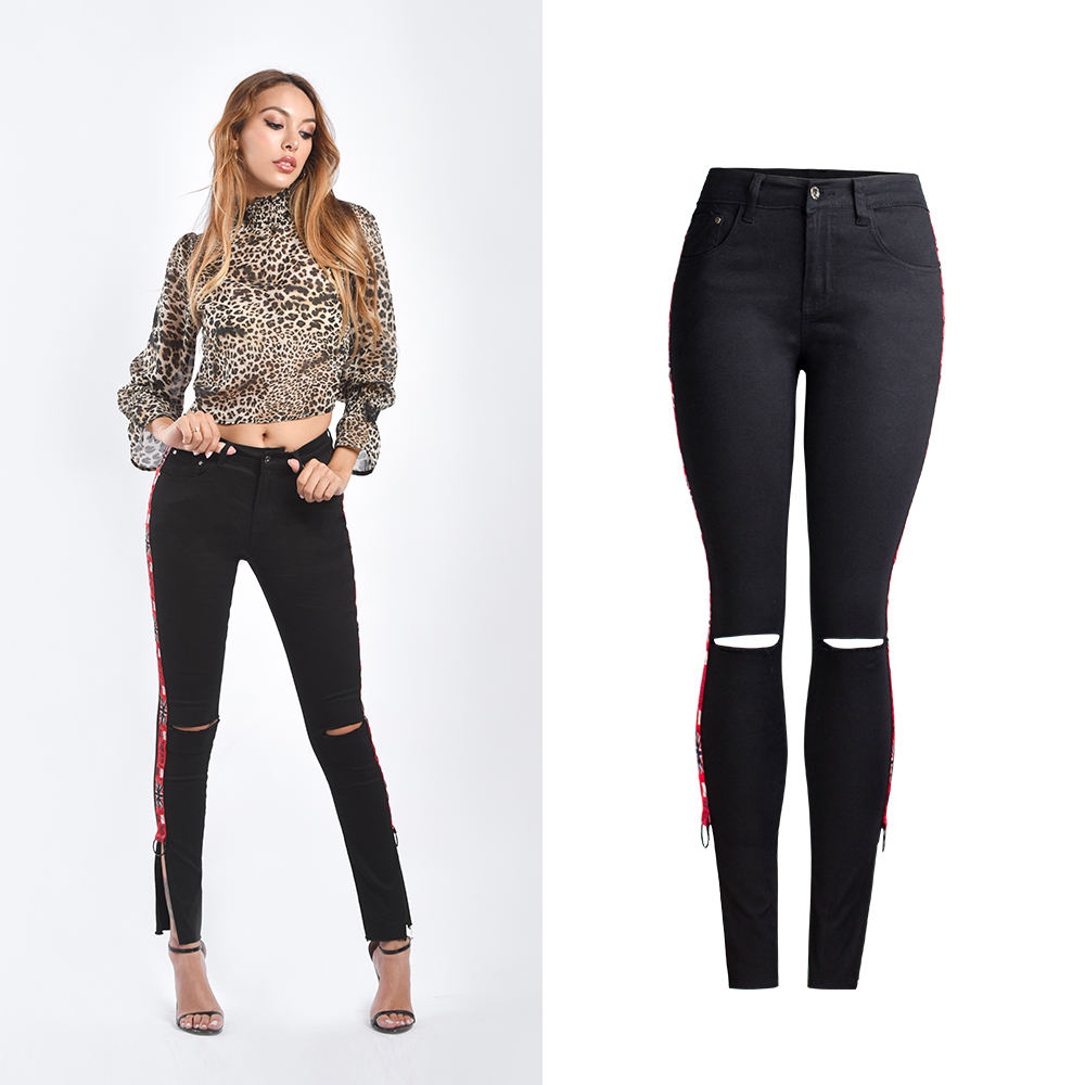 AM157 fashion black ripped jeans red side striped patch leggings oppenning bottom jeans