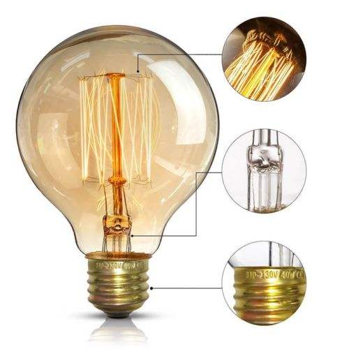 Home Decor Vintage <span class=keywords><strong>Antieke</strong></span> Amber G80 Dimbare Verlichting 25W 60 Watt Led Edison <span class=keywords><strong>Lamp</strong></span>