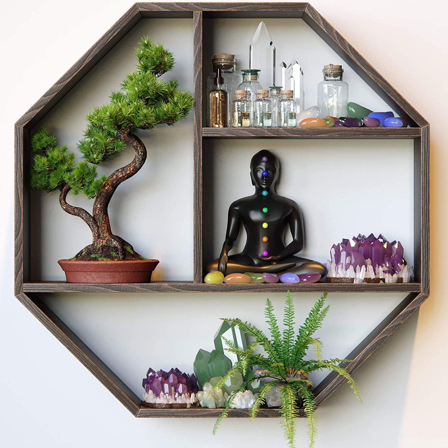 Geometric Wall Shelf can Be Used as Crystal Holder, Crystal Display Shelf or Essential Oil Shelf Organizer
