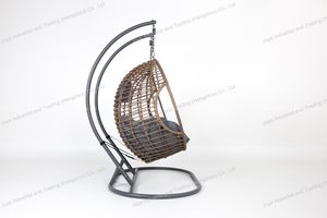 Outdoor Garden Furniture Steel Rattan Double Seater Cushion Hanging Egg Chair