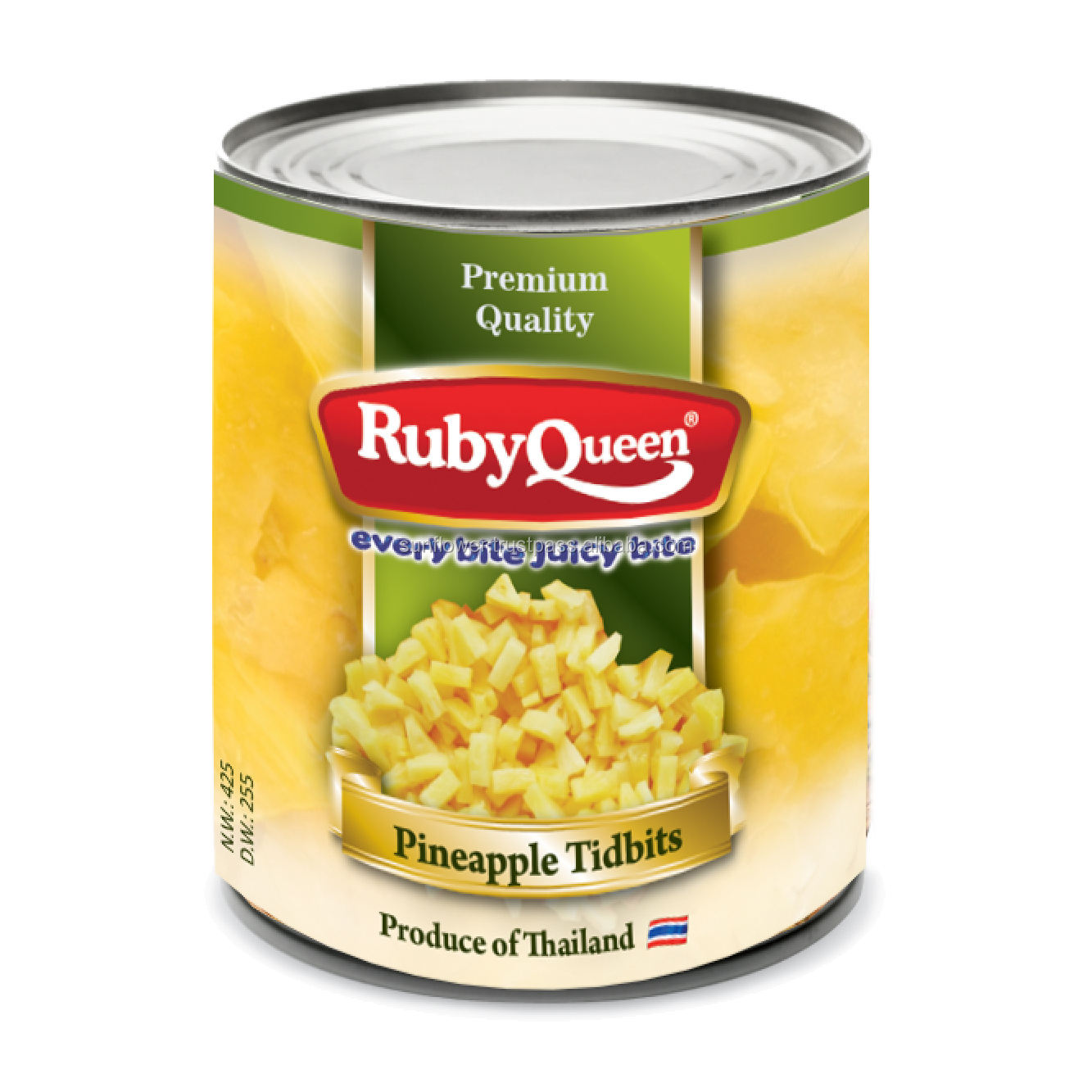 Canned Thai Pineapple Chunks, Tidbits in Light Syrup Premium Quality