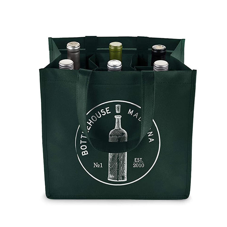 Wholesale custom logo printed promotional cheap recycled 6 bottles non woven wine tote shopping bag