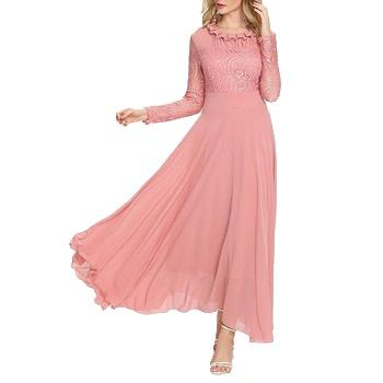 Elegant Ladies Long Sleeve Pleated Collar Contrast Lace Slim Fit And Flare Maxi Dress