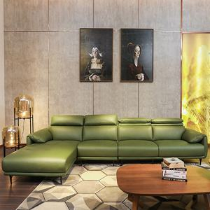 Stylish Italian Green Leather Sofas For Living Room