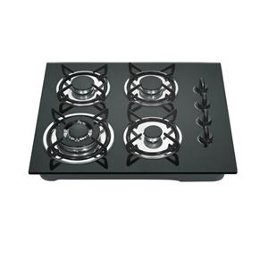 Kitchen cooking appliance 4 burners glass top enamel pan support built in gas stove cooker