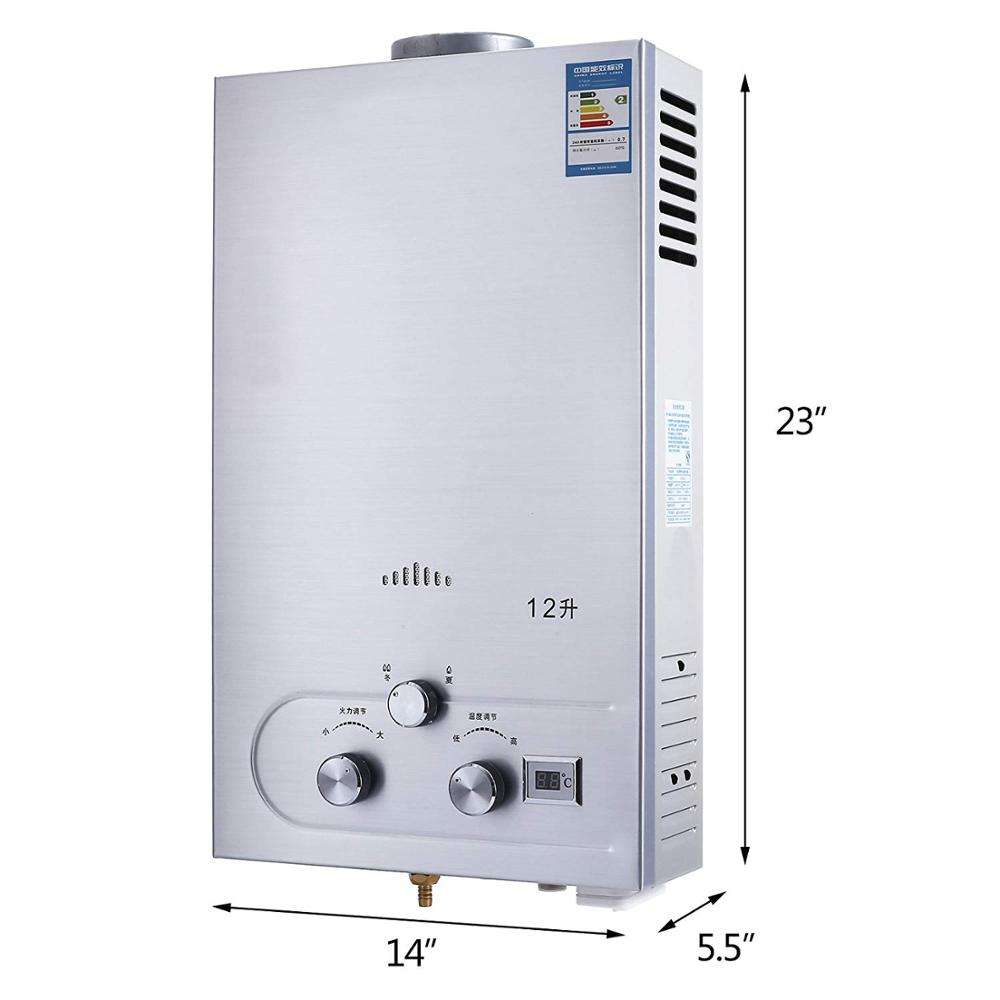CE Stainless Steel Propana Tankless Instan Boiler 12L CNG Gas Pemanas Air Panas