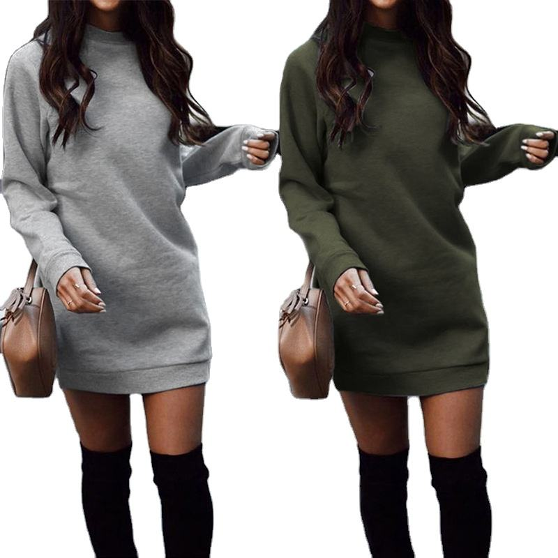 Hot Sale Sweater Dress Long Sleeve Women Dress Crew Neck Solid Autumn and Winter Casual Dresses Bodycon Mini Full Above Knee
