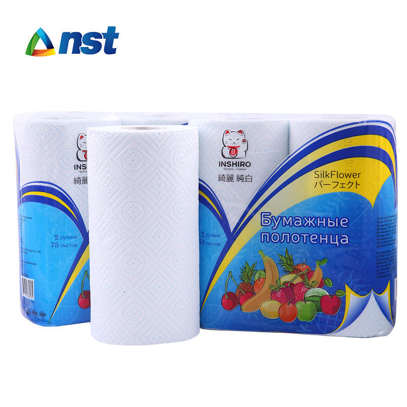 Home 2 plys good quality virgin wood pulp kitchen roll towel paper