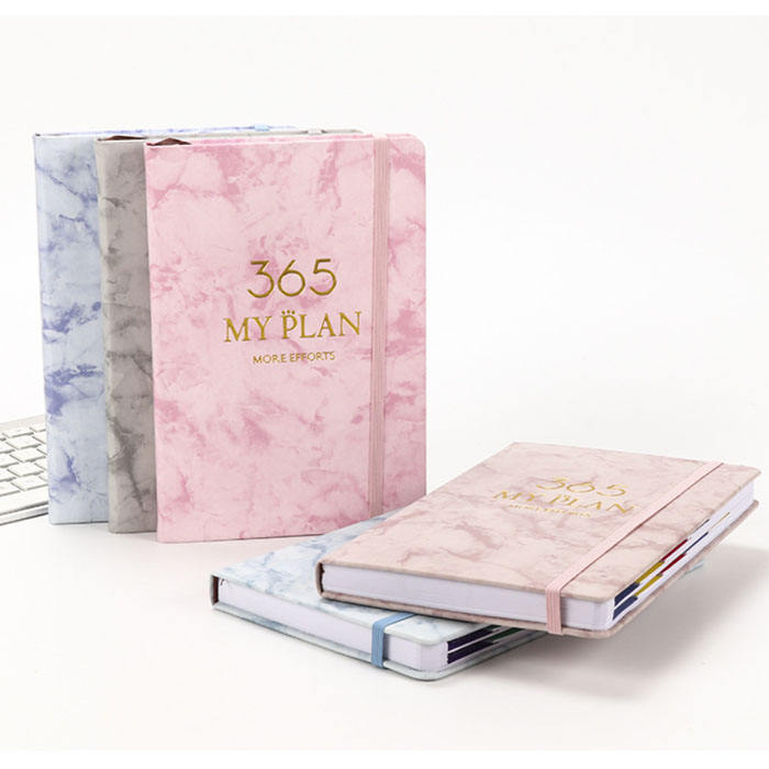 2021 A4 A5 size pink marble custom planner diary notebook with monthly weekly daily