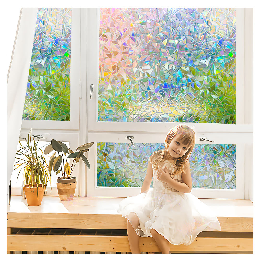 3D Rainbow Static Cling Waterproof Decorative Privacy Window Glass Film For Home Decoration