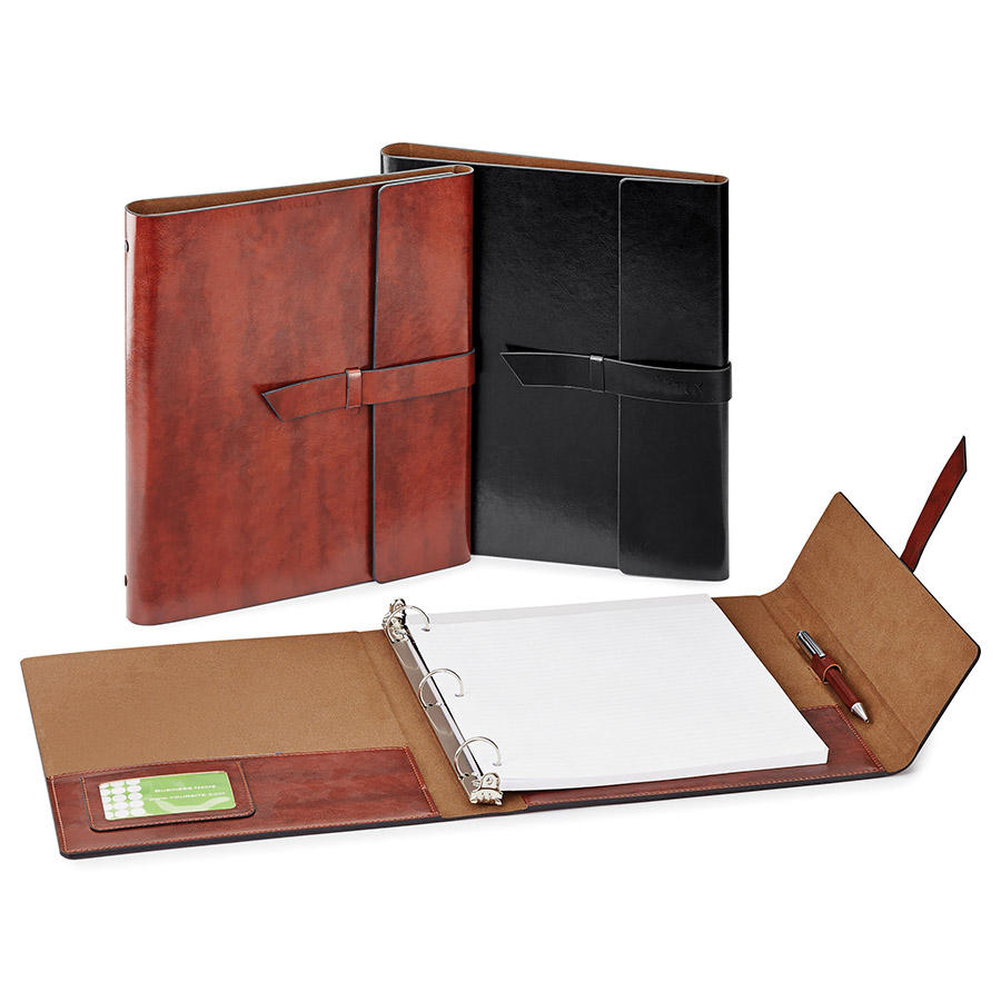 High-quality vintage PU leather a4 3 ring binder meeting notebook