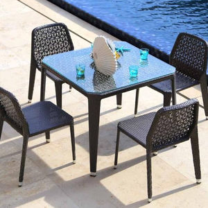Outdoor rattan dining wicker table and chair set outdoor furniture set