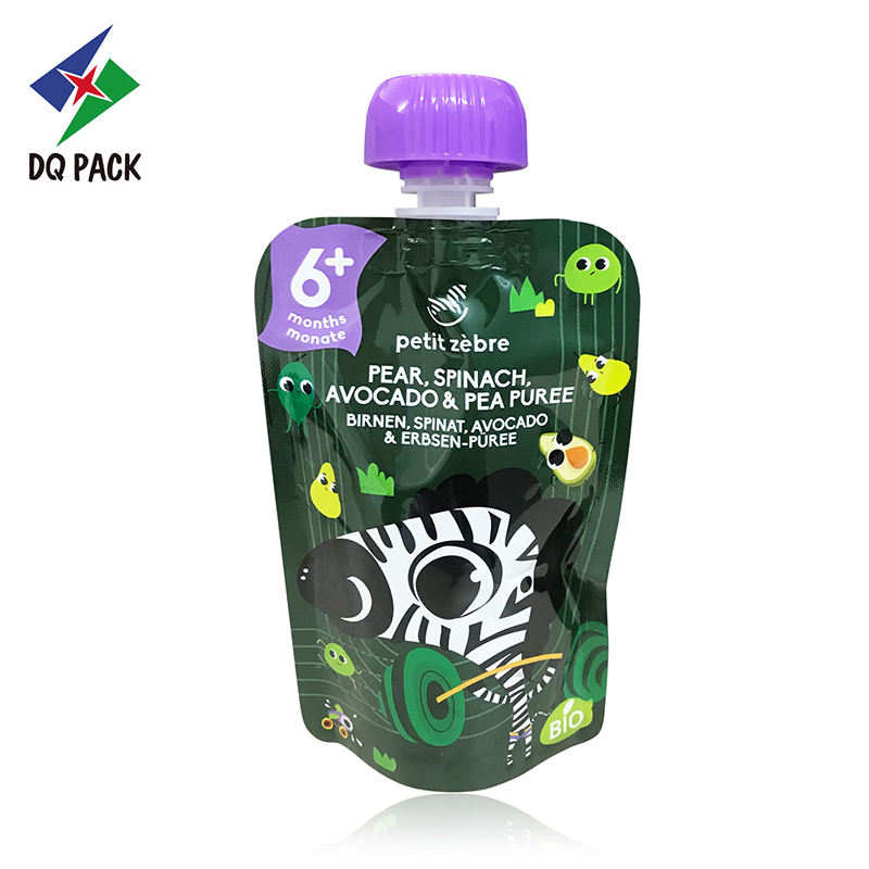 DQ PACK Custom design baby food puree plastic fruit juice packaging doypack with spout and anti swallowing cap