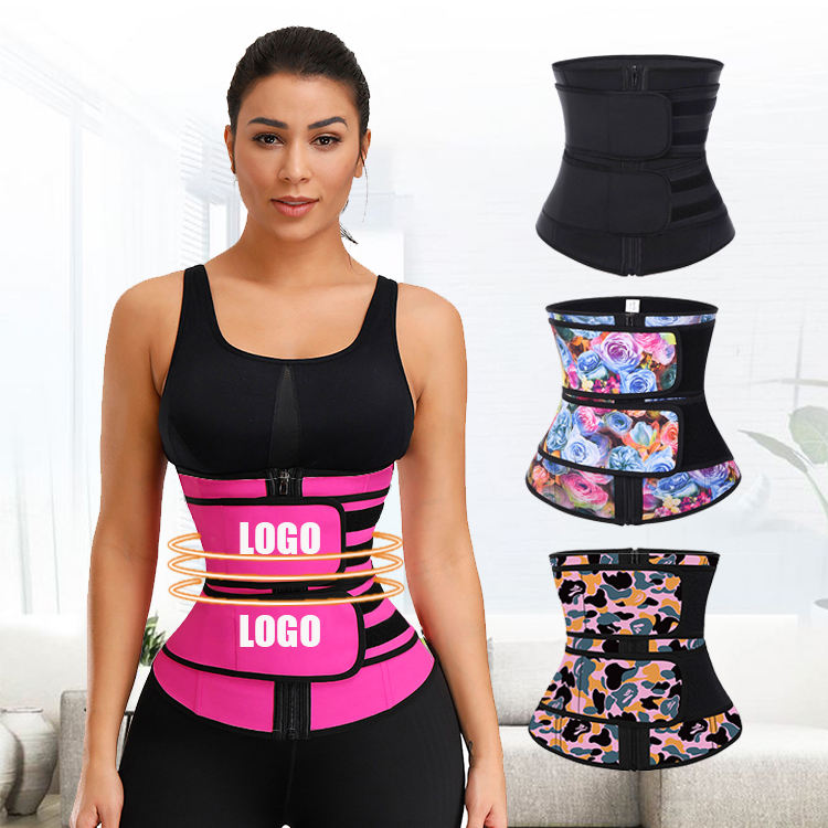 Custom Logo Zipper Front Private Label Double Belt Breathable Women Latex Waist Cincher Trainer