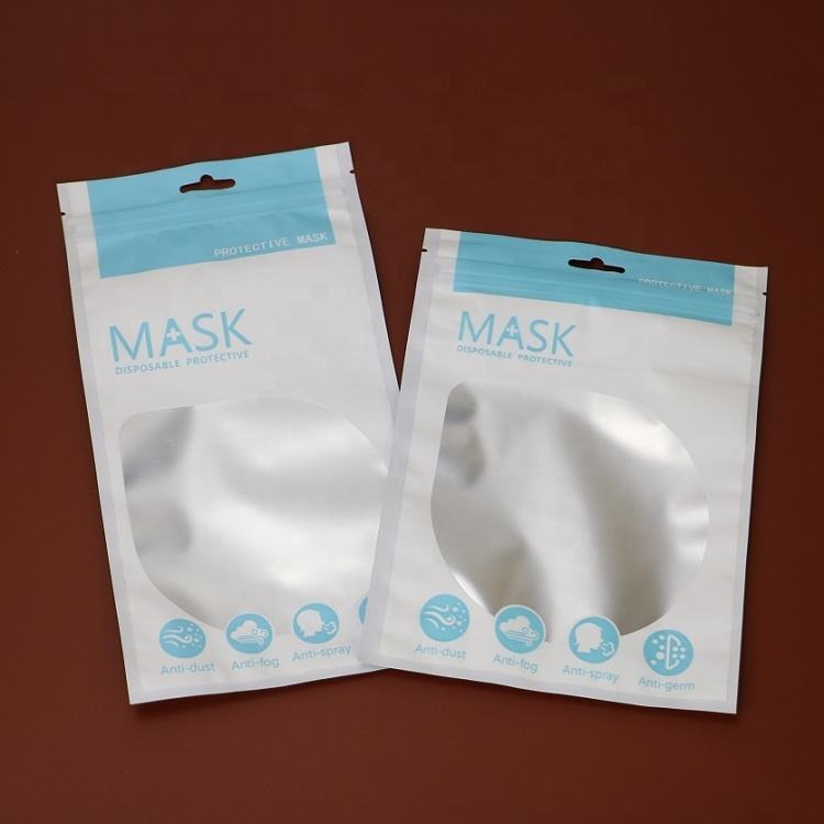 Face Mask Packaging Bag Self Seal Aluminum Foil Fashion Disposable KN95 N95 Mask Packing Bag for Retail Sale