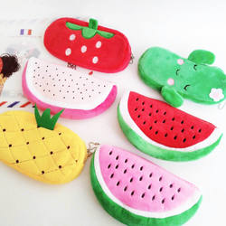 Cute Fruit Watermelon Cactus Plush Pencil Case Cosmetic Bag