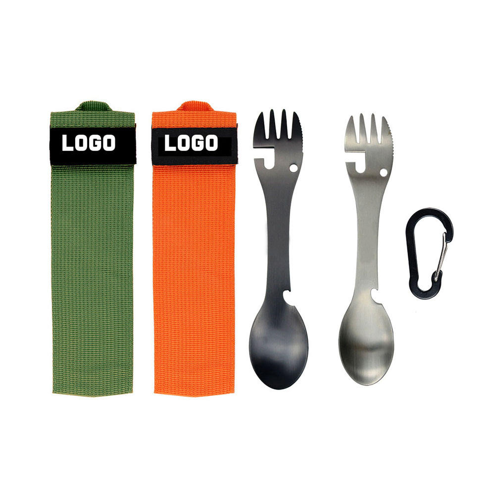 Factory wholesale Camping Picnic Portable Opener Multifunction Stainless Steel Fork Spoon
