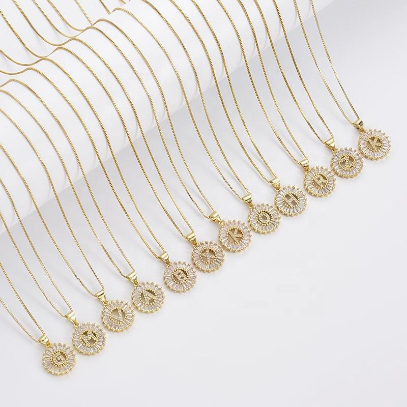 Cliobeads bling diamond effect dainty alphabet jewelry 18k gold plated coin shape hollow letter pendant initial necklace