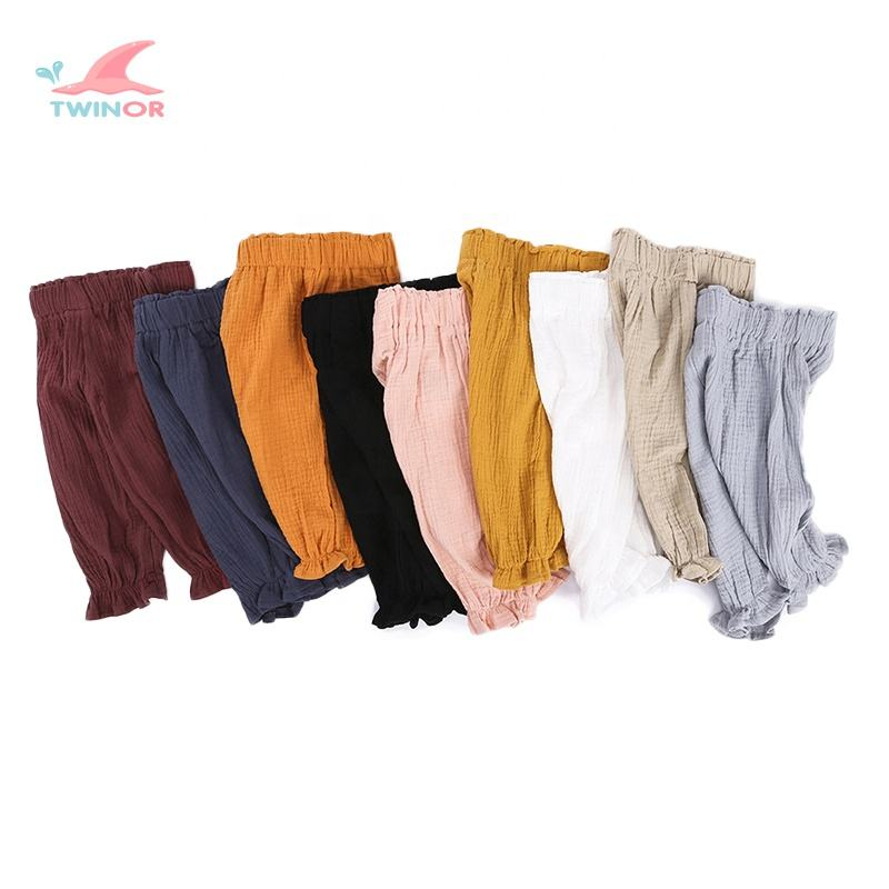 Autumn Spring Breathable Thin Solid Color Baby Ruffle Pants For Girls Linen Pants Kids