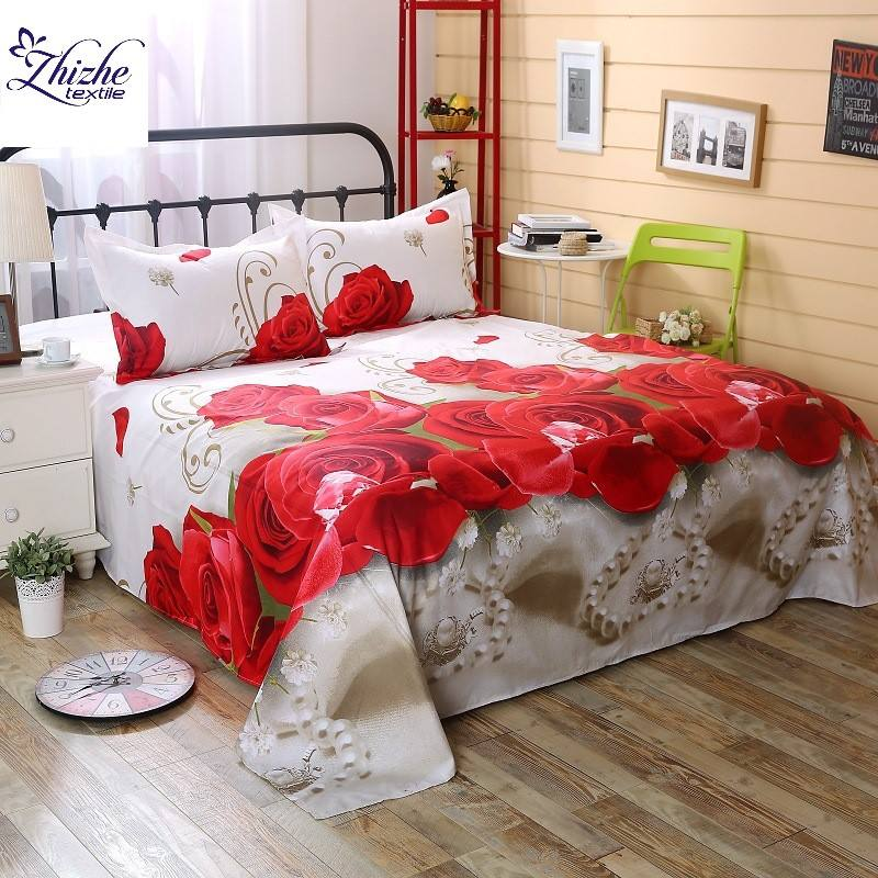 3D style big red rose print bed sheet bedsheets set