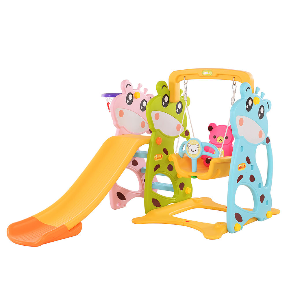 Hot selling dear theme indoor plastic children kids slide with swing set
