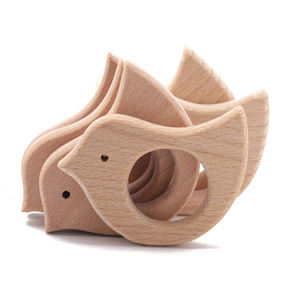 Handmade Organic Beech Wooden Love Bird Pendant DIY Baby Teether Toys Chewable Toys
