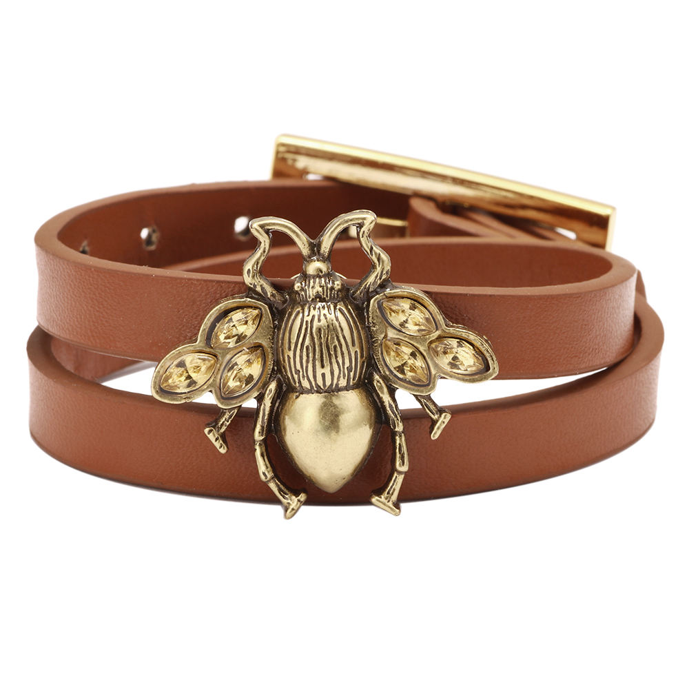 New design Bee With Diamond Woman Bracelet Multilayer Wrap Genuine Leather Chain Link Charm Bracelets