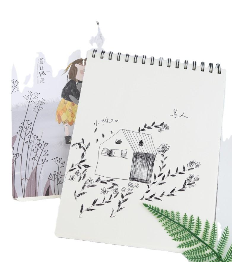 Factory manufacture A4 white cardboard full color printing and blank inner drawing sketch notebook wholesale wire-o sketch book