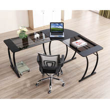 Wholesale modern simple L shape glass office table home office corner computer desk