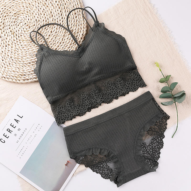 4081 Push Up Anti-Sagging Bra Set Girl Sexy Lace Vest Bra And Brief Sets Fashion Women Underwear Sets