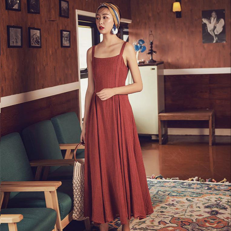 A6906 spaghetti strap summer tunic red new women's seaside dress vacation travel beach long skirt open back green dress