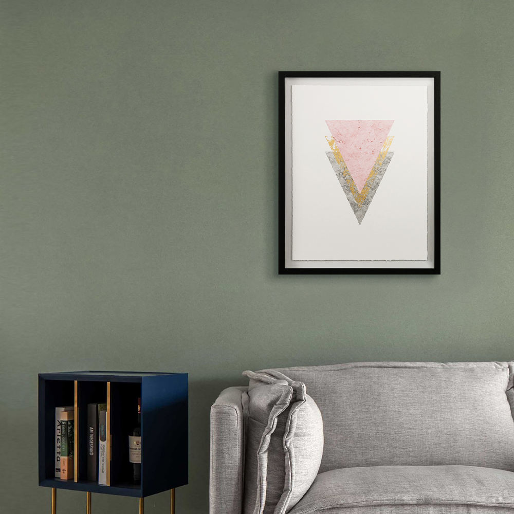 Framed abstract triangle picture wall art painting for living room