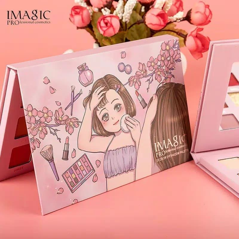 IMAGIC pressed powder eyeshadow palette with mirror makeup 15 color charming eyeshade tray