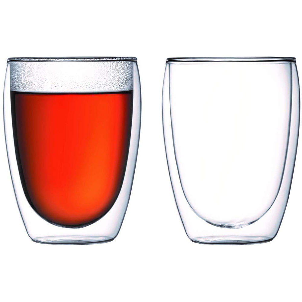 set of 2 clear pyrex heat resistant borosilicate coffee double wall glass cup