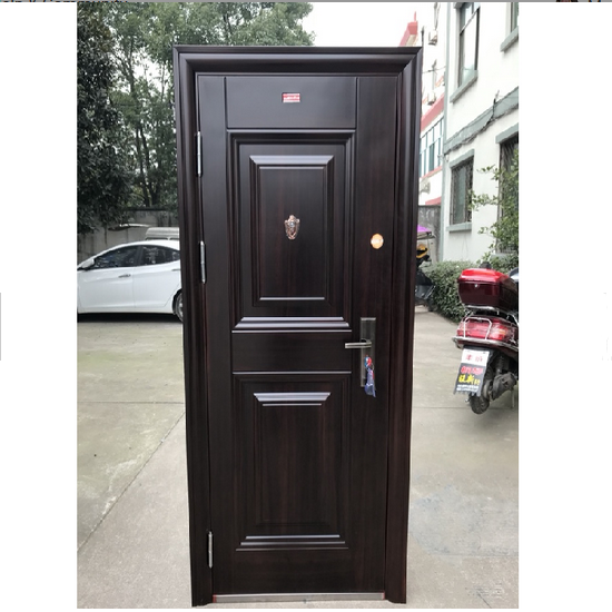 Hot sale Bulletproof Security steel front door turkish Fireproof entrance steel wood main doors design