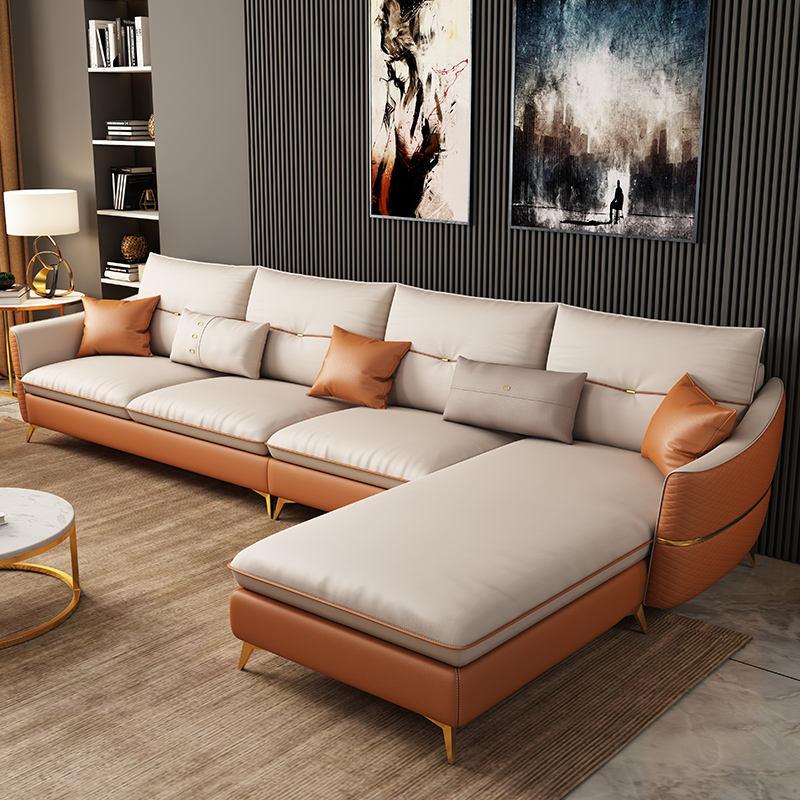 Muebles-en forma de <span class=keywords><strong>casa</strong></span> de diseño moderno sofá de cuero con pelo insertado conjunto habitación