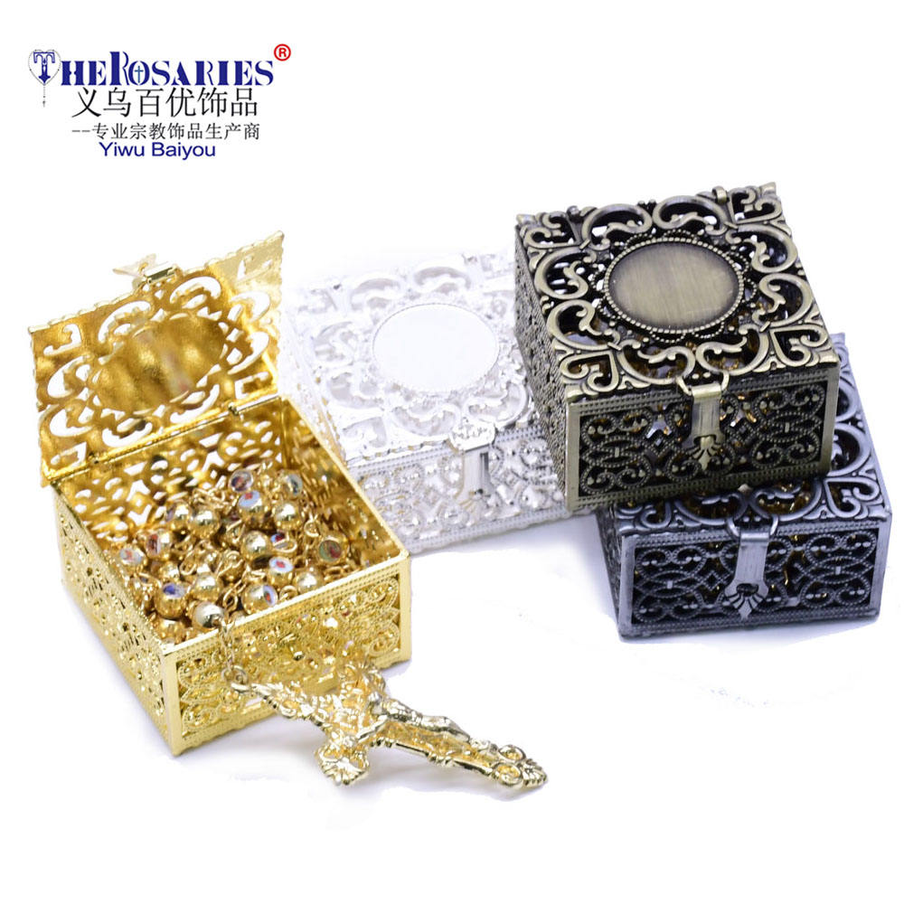 Rosary Metal Custom Boxes Packing Box For Gift Pack